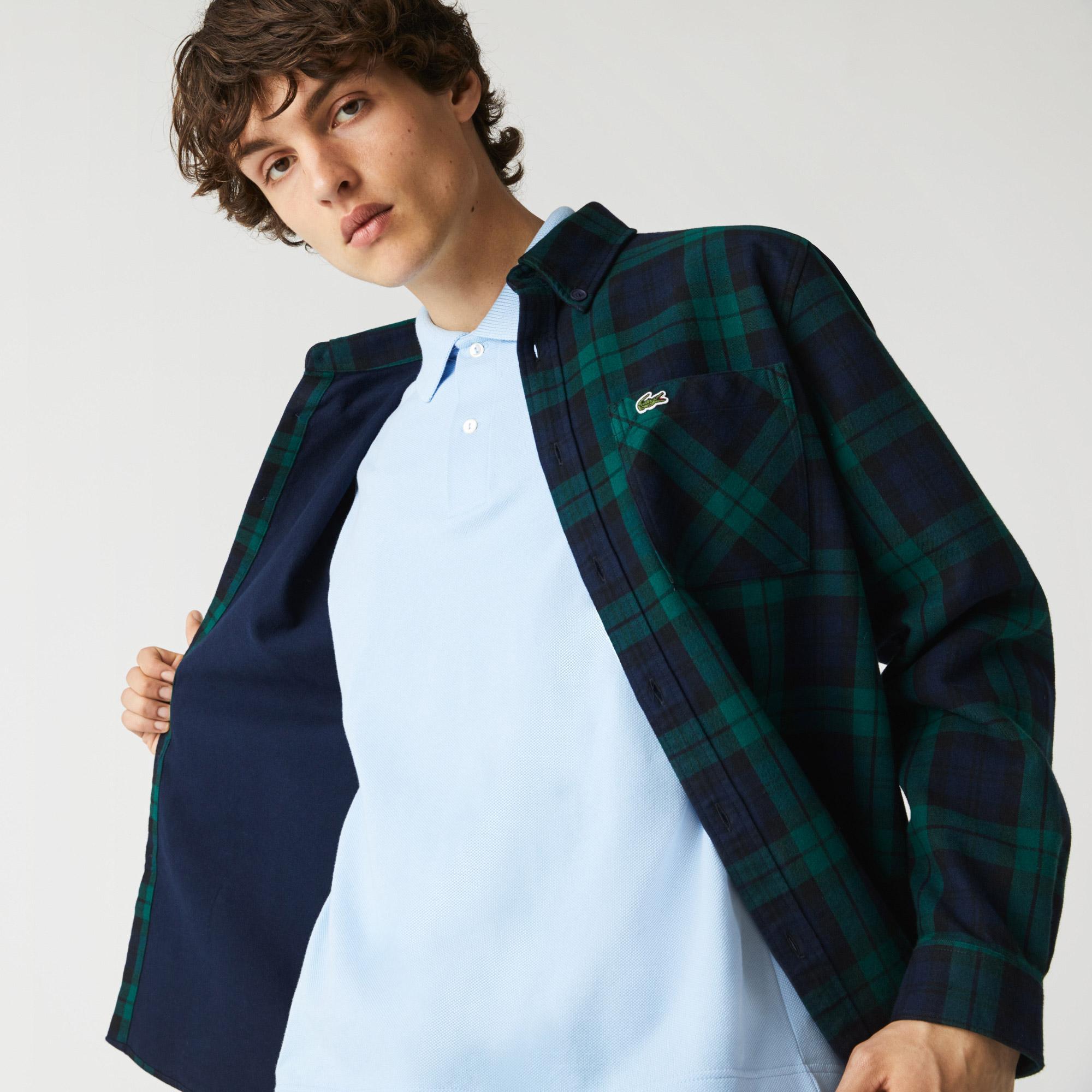 Lacoste Koszula wierzchnia męska z grubej flaneli, w kratkę, Regular Fit