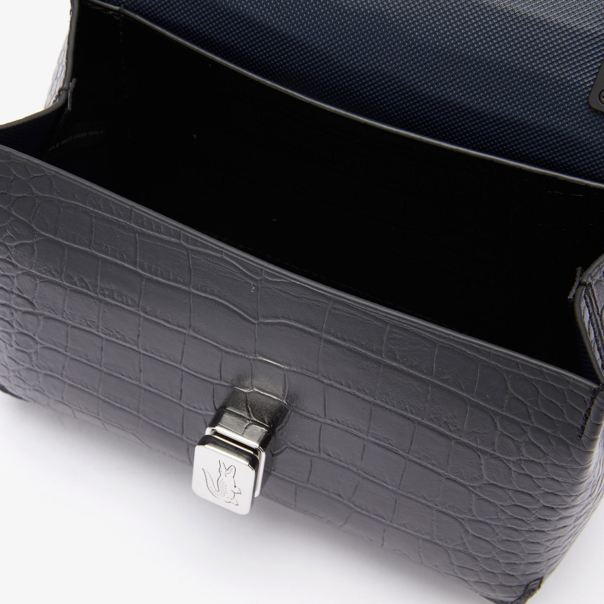 Lacoste Women's Amelia Metal Clasp Embossed Leather Handbag