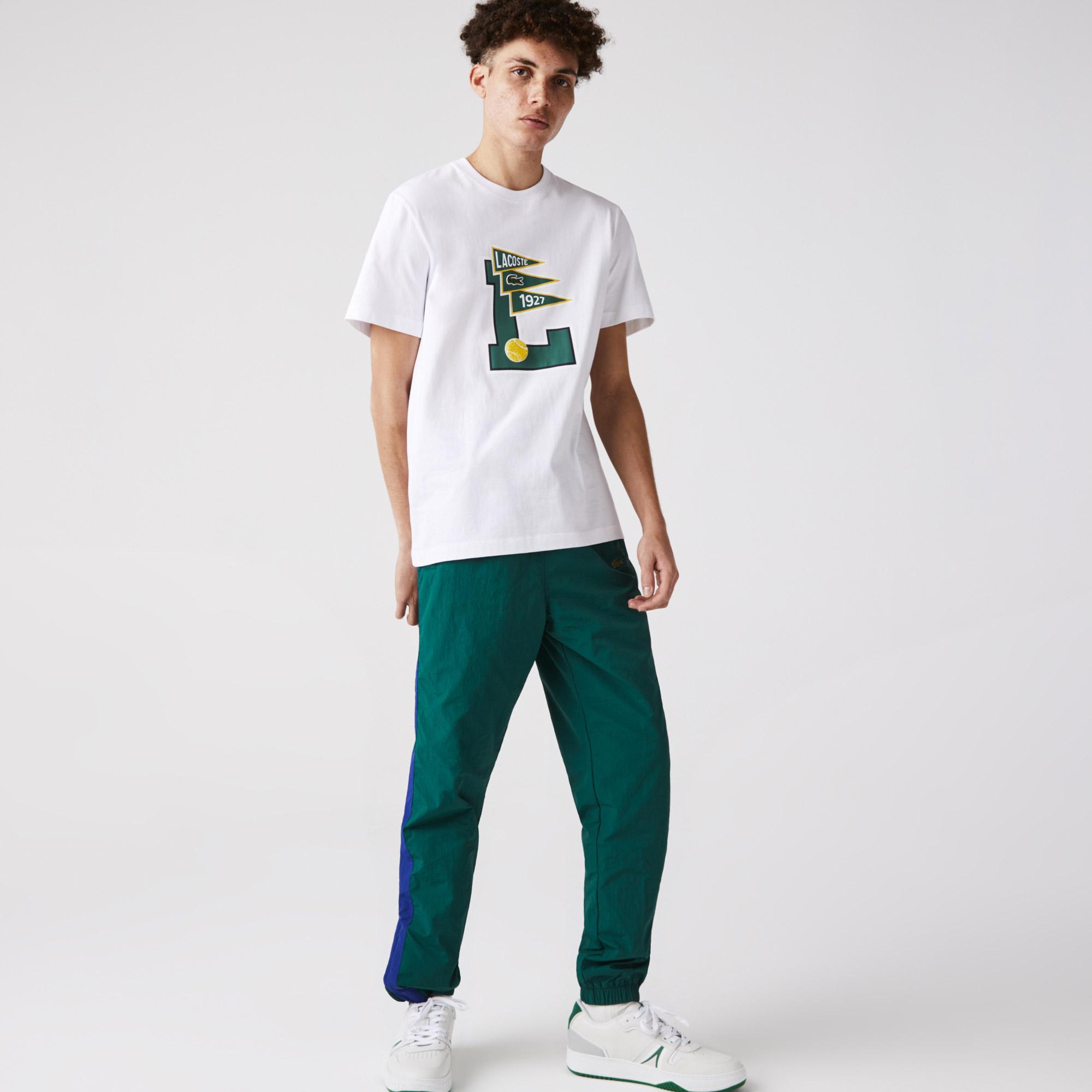 Lacoste Męski T-shirt bawełniany z okrągłym dekoltem, L Badge Pennants
