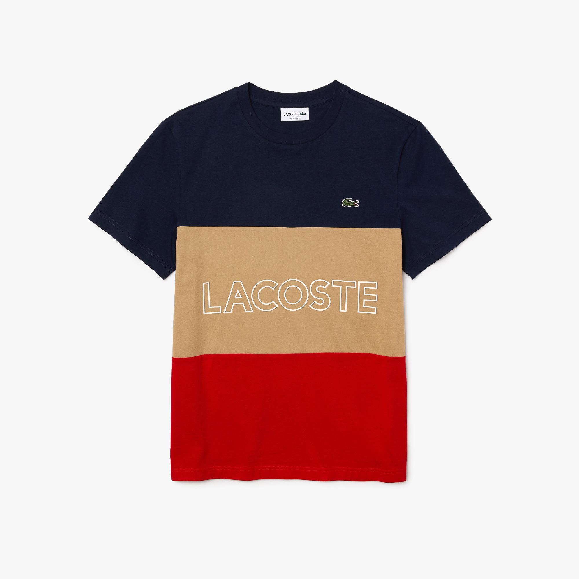 Lacoste T-shirt męski z bawełny, z okrągłym dekoltem, z napisem 3D i w bloki kolorystyczne