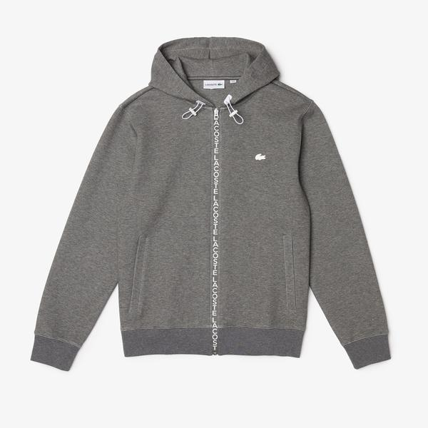 Lacoste Men's Hooded Cotton Blend Lettered Zip Sweatshirt