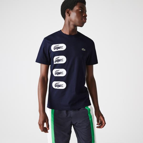 Lacoste T-shirt męski z bawełny, z okrągłym dekoltem, z nadrukiem krokodyla