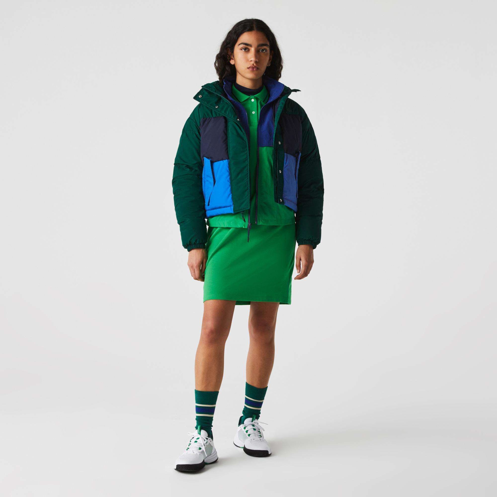 Lacoste Kurtka damska z chowanym kapturem, krótka, pikowana, w bloki kolorystyczne
