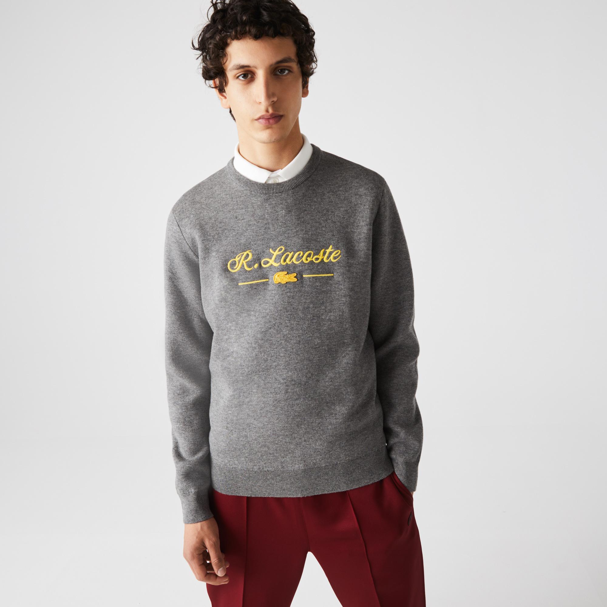 Lacoste Sweter męski z wełny i bawełny z haftowanym napisem