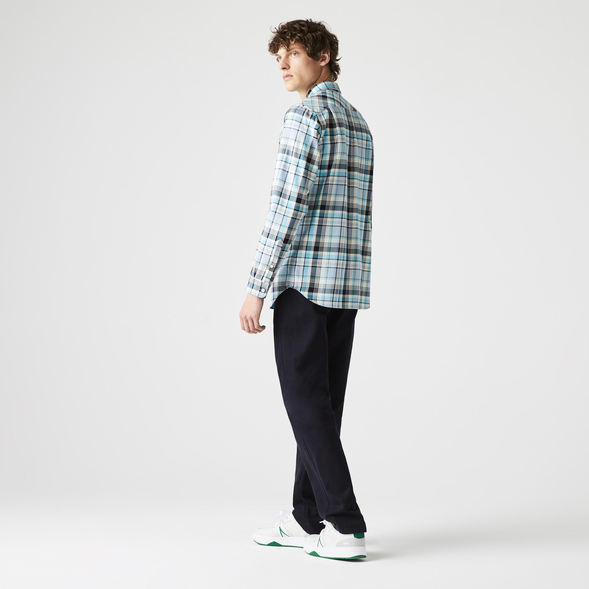 Lacoste Koszula męska z bawełny madras, w kratkę, Regular Fit