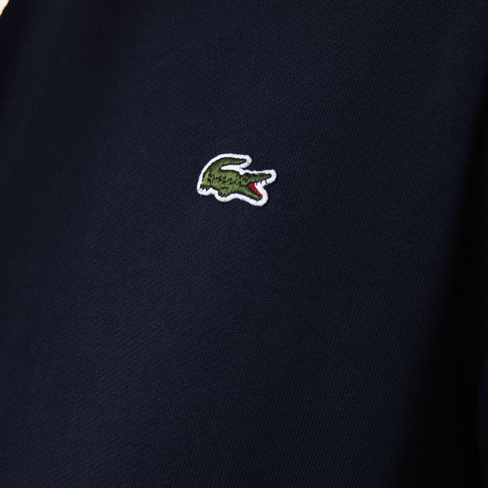 Lacoste Męska bluza polarowa z kapturem, z nadrukiem na rękawach