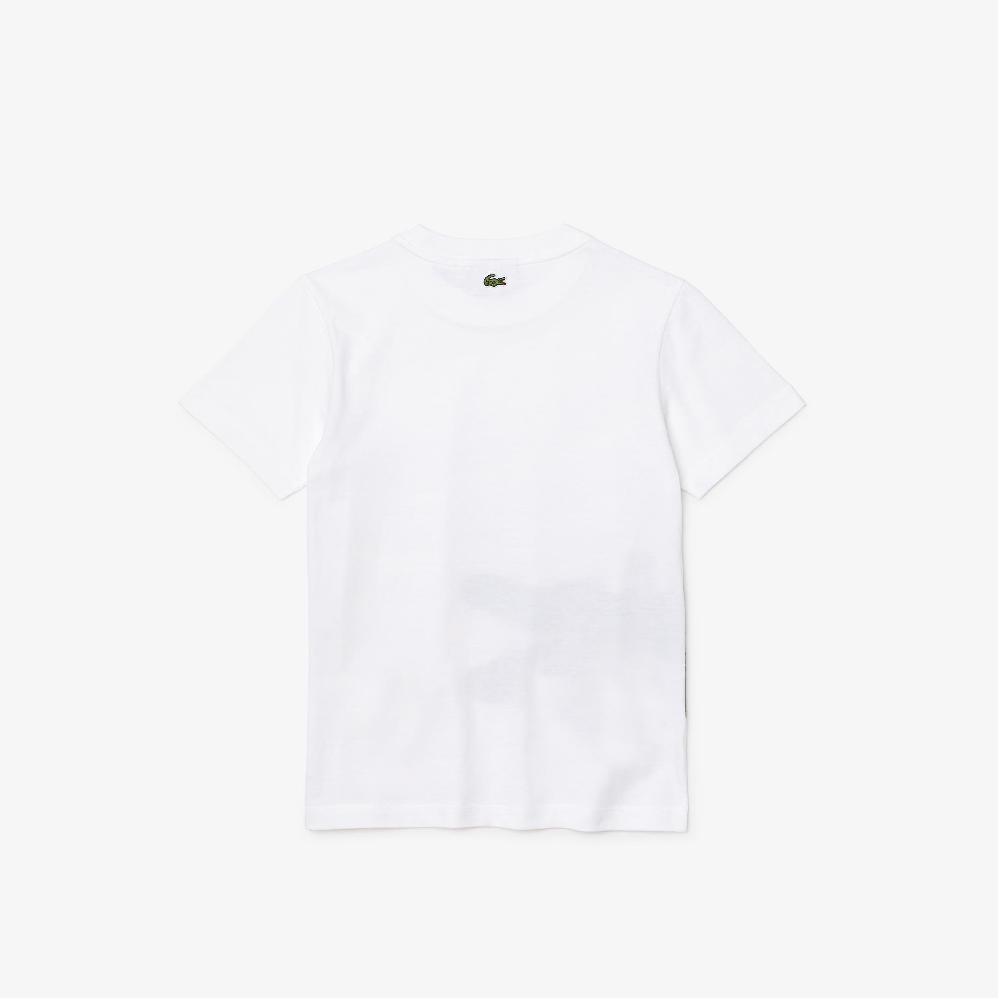 Lacoste Chłopięcy T-shirt bawełniany z okrągłym dekoltem, z nadrukiem krokodyla