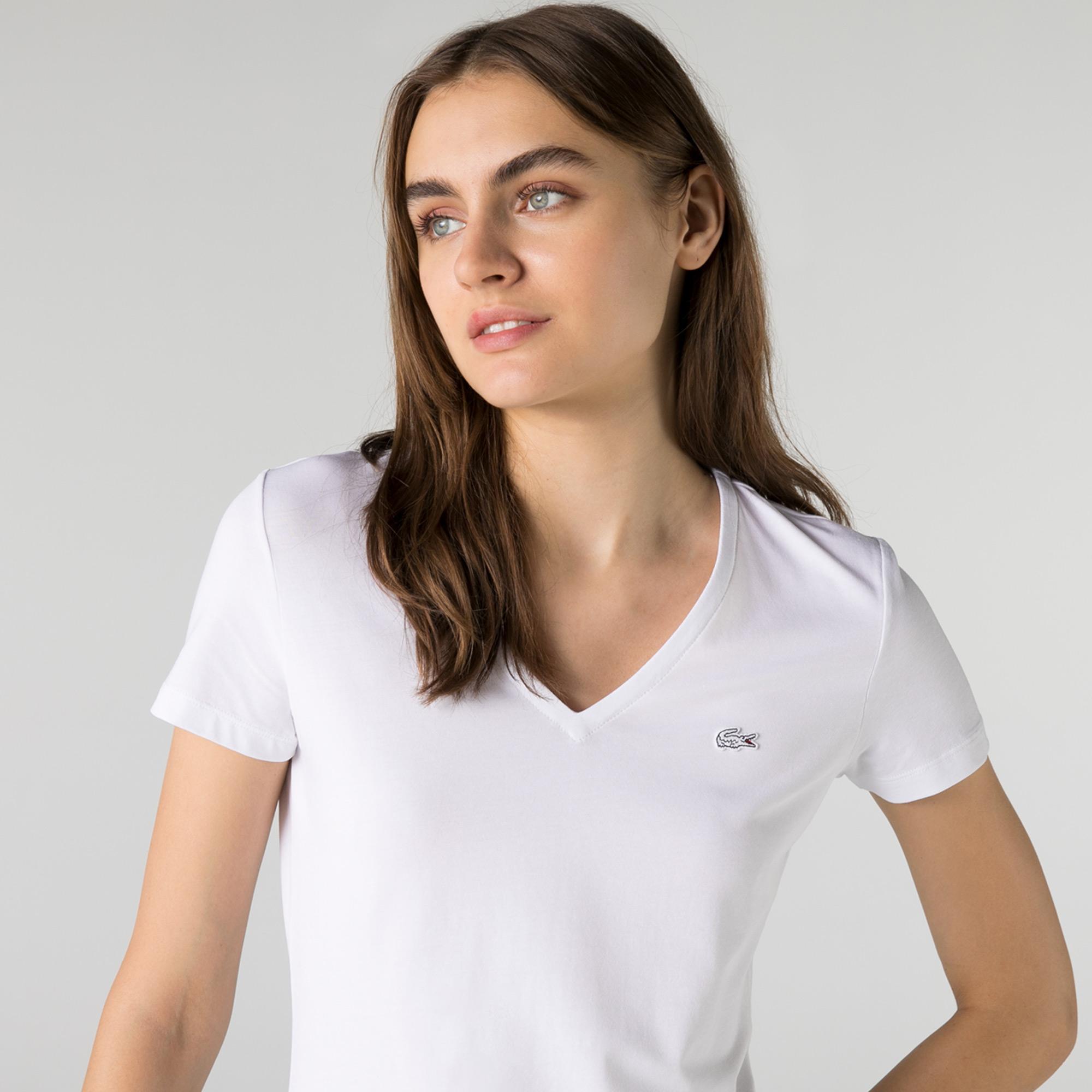Lacoste Damski T-shirt z dekoltem w kształcie litery V