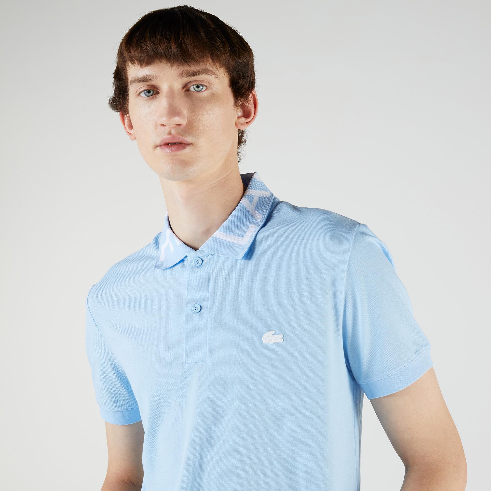 Lacoste Męska koszulka polo Slim Fit z piki, lekka, oddychająca, z napisami na dekolcie