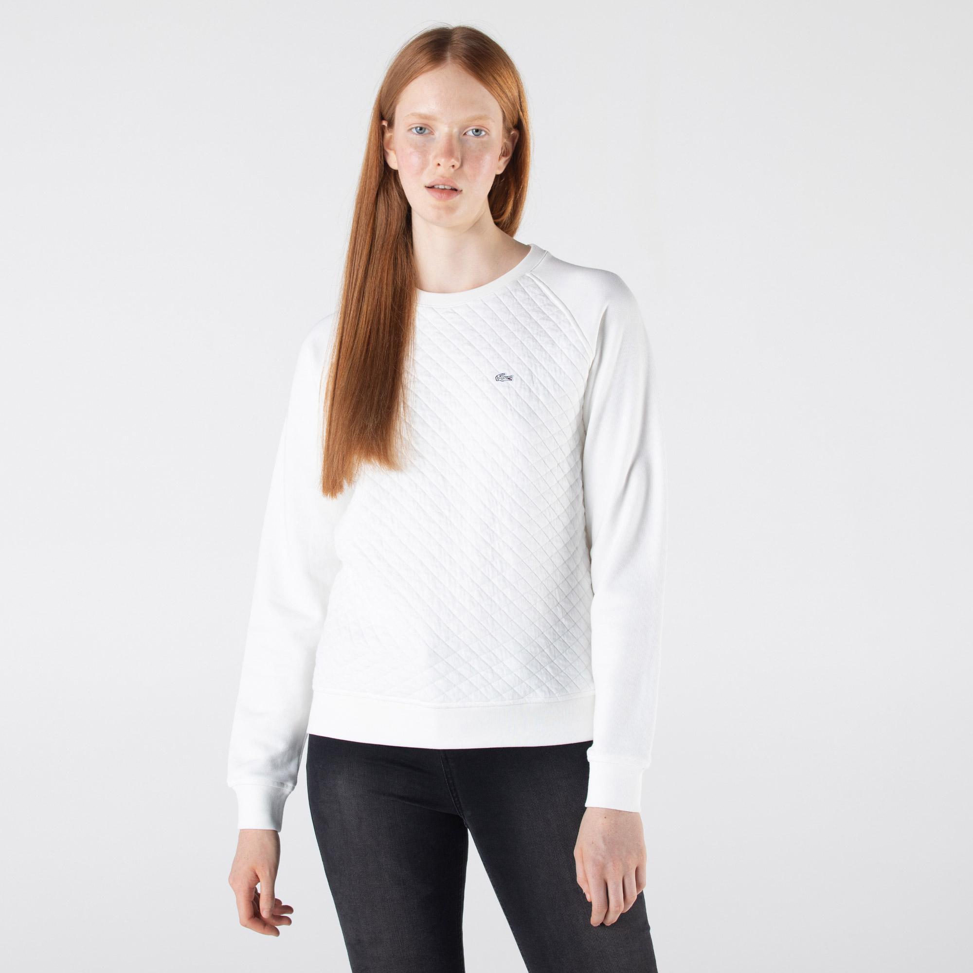 Lacoste Kadın Regular Fit Bisiklet Yaka Desenli Ekru Sweatshirt