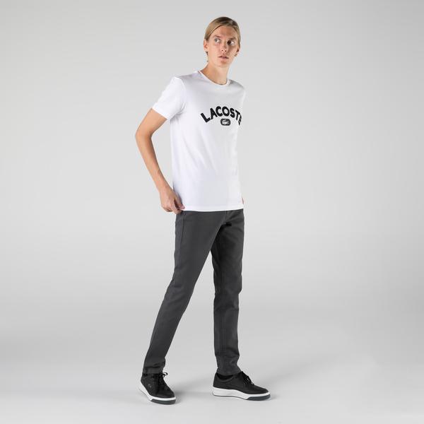 Lacoste T-shirt męski z bawełny Premium, z nadrukiem logo